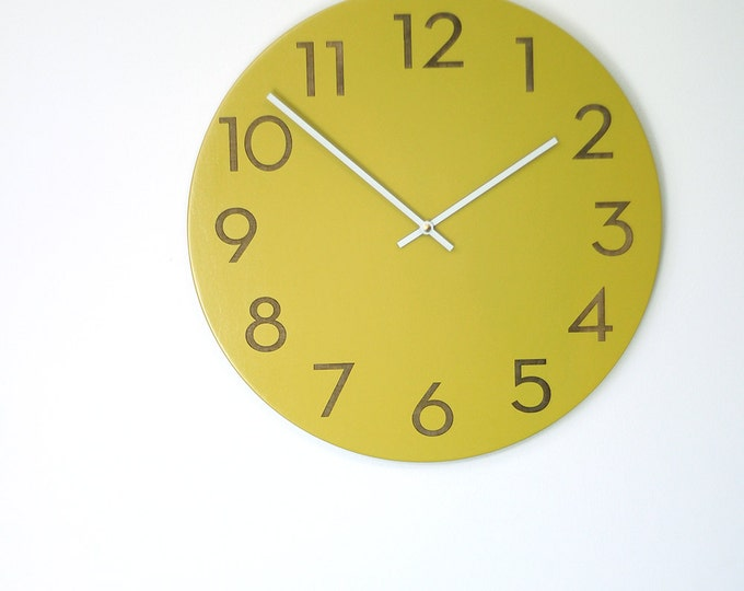 large modern wood wall clock chartreuse, white or wood finish
