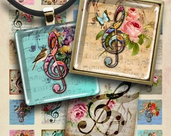 1x1 inch (25mm) size images MUSIC CLEF Digital Collage Sheet Printable Download for pendants magnets jewelry scrapbooking decoupage