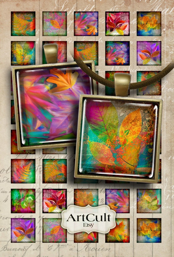 1x1 inch and 7/8x7/8 inch size square Images FOLIAGE Digital Collage Sheet Printable downloads for pendants, magnets, bezel settings ArtCult