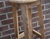 """YOUR Custom 18"""" - 36"""" Reclaimed Rustic and Recycled Oak Barn Wood Round Bar Stools. FREE SHIPPING - RBS88"""