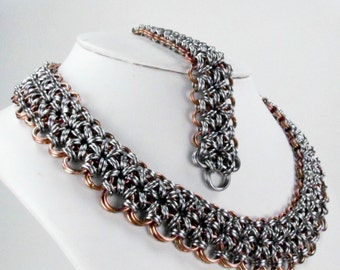 Chainmaille Necklace & Bracelet Set -  Japanese Pattern