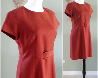 Vintage 90s Wool Shift Dress, Autumn/Fall Burnt Orange Wool Short Shift Dress, Rust Shift Dress with Cap Sleeves by Barami Size S / M