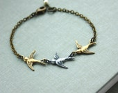 Three Tiny Swallow Bracelet. Mother Daughters. 3 Sisters. Best Friend. Seniors Graduation. Family of 3. New Baby. 3 Daughters. Triple birds.