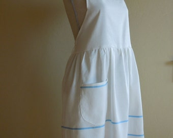 White Linen Apron with Light Blue Stripes and Pockets