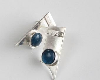 Blue Stone Studs with Apetite Cabochons on Sterling Silver 925 Silver Drop Style Studs