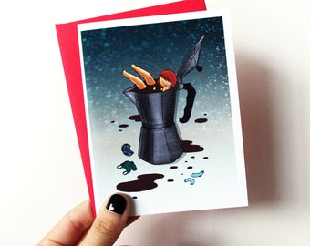 Coffee Lover Card - blank greeting card with envelope