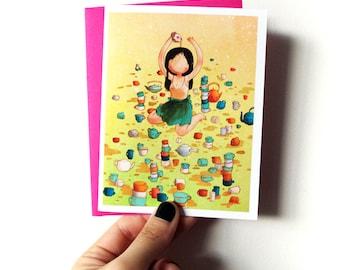 Tea Tea Tea - cute blank greeting card with envelope