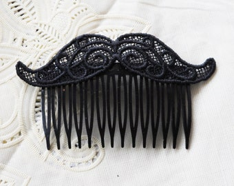 Mustache Hair Comb Black Lace