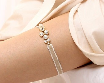 Gold crystal garter, gold weddng garter, bridal garter - style #485