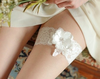 White flower wedding bridal garter - style #405