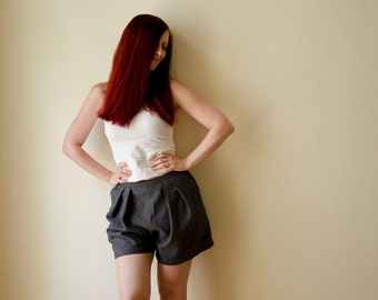 50% Off Sample Sale Pleated Womens Shorts, Pinstripe Dark Grey, Summer Shorts