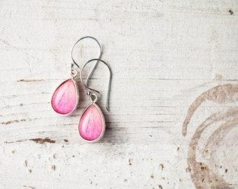 Pink drop earrings - Pink peony earrings -  Pink teardrop earrings - Pink petal earrings, Pink flower jewelry - Bloom by BeautySpot  (E130)
