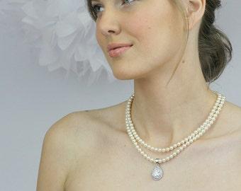 Wedding Necklace , Pearl Necklace  Pendant   Bridal Necklace , Wedding Jewelry , Bridal Jewellery