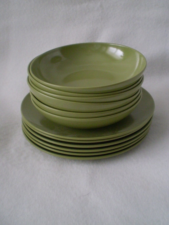 Vintage Melmac Melamine Olive Avocado Green Dishes And By