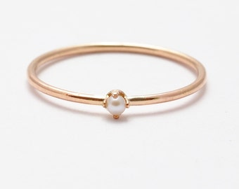 Pearl Ring: Rose Gold Pearl Rings, Gifts for Women