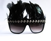 Wayfarer Sunglasses // Black Iridescent Feather Headpiece Headdress // Studded Shades