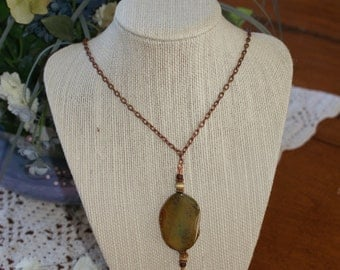 Stone Pendant with Brass Chain