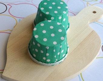 50 Polka Dots Mint Baking Cups