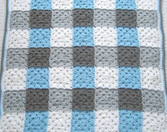 Blue Gingham Baby Blanket - Granny Square Baby Blanket - Crochet Baby Boy Blanket - Blue and Gray - Crochet Baby Blanket