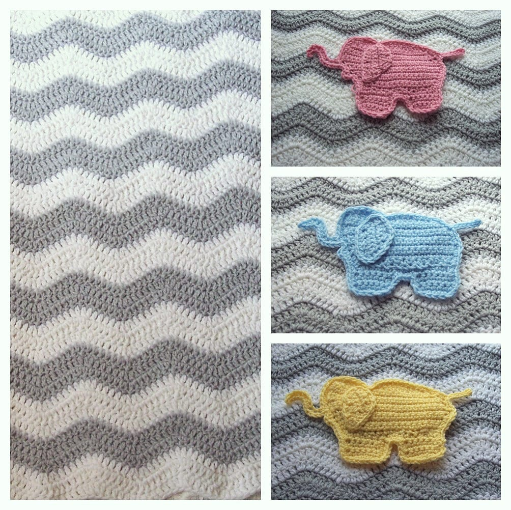 Crochet Elephant Blanket : Crochet Chevron Elephant Baby Blanket by PrairieHeartstrings