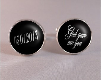 God gave me you - Silver Save the Date Groom Cufflinks - Wedding, Anniversary, Birthday - Custom colors available