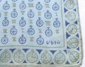 Vera Neumann Parachute Silk Scarf Clocks Roman Numerals