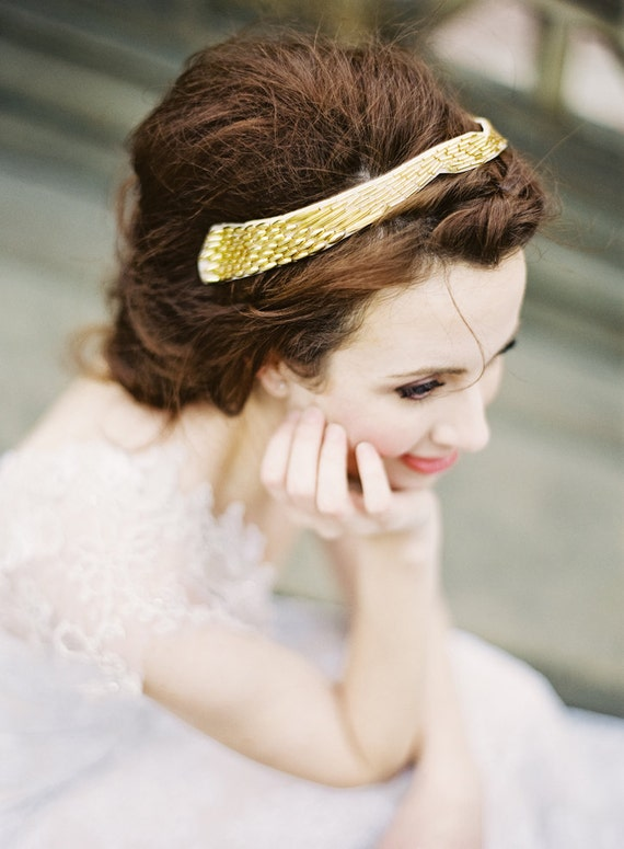 Beaded headband, vintage inspired, available in gold or silver