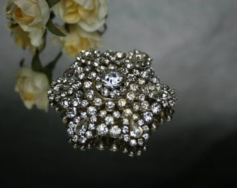 Vintage Silver Tone and Clear Rhinestone Brooch