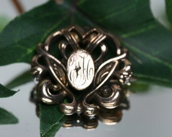 Watch Pin - Vintage Gold Filled Signet Watch Pin - Altered