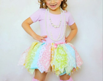 EASTER SPRING Fabric Tutu Scrap Skirt Pastel Pink Green Blue and Yellow Size Newborn to 4T