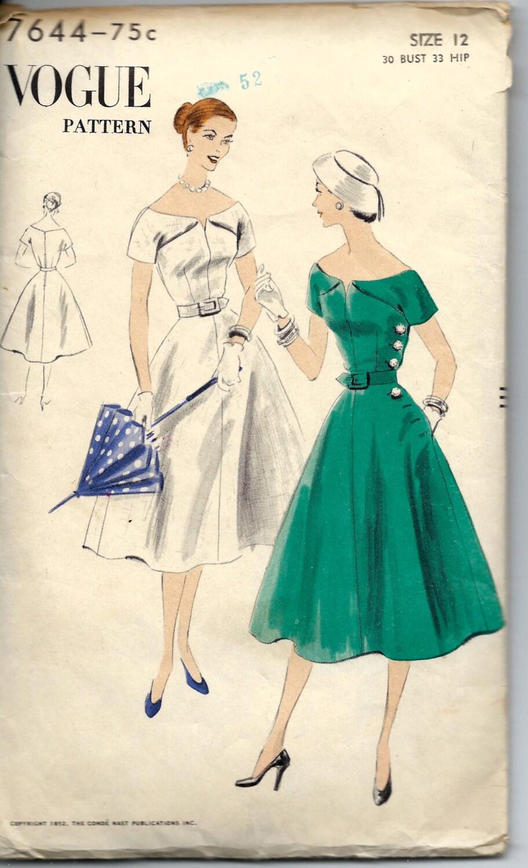 Vintage 1950s Vogue 7644 Off The Shoulder Dress By Romasmaison