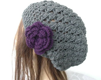 Crochet Hat - Slouchy  Hat-   Beanie Hat  - Womens hat -   Charcoal Gray  Beanie  Fall Winter Accessories  women accessories Fashion