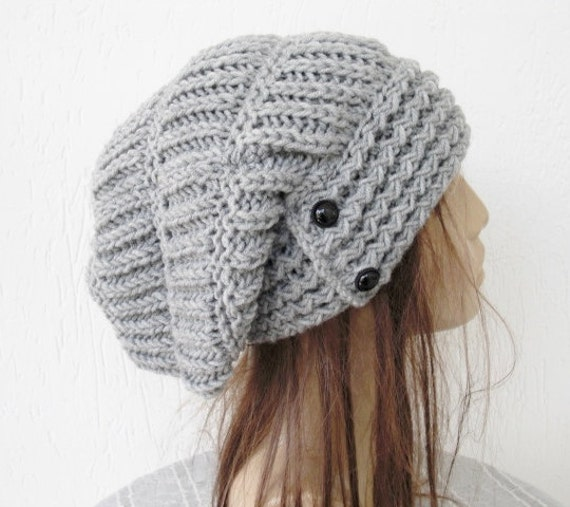 slouchy hat knit hat womens hat winter hat womens by