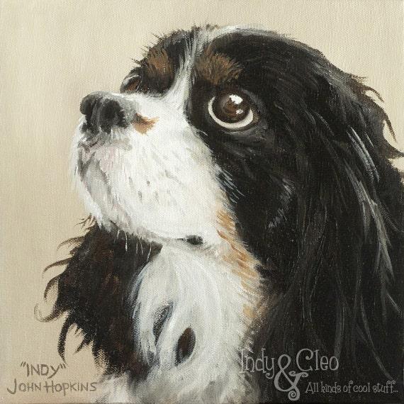Cavalier King Charles Spaniel Art, Dog Art Print, Cavalier Art Giclee, Pet Portrait, Home Decor Wall Art, Dog Lover Gift, Indy Indiana Jones