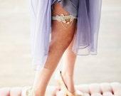Duchess lace rhinestone and silver metallic Luxe single bridal Garter wedding