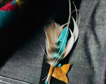 Modern Man feather boutinniere CHOOSE your colors