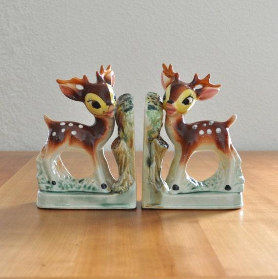 Cute vintage ceramic deer bookends by thecreekhouse on etsy - Deer antler bookends ...
