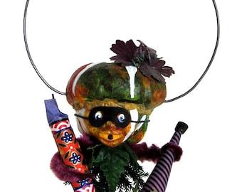 "Mixed Media Sculpture Inspired by Antique German Hallowe'en Folk Art Toys - ""Fireworks for the Bonfire"""