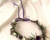 dried flower crown fall bridal Hair wreath accessories Country chic Rustic Woodland purple plum Wildflower halo wedding hairpiece