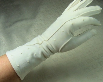 Vintage Long White Cotton Gloves