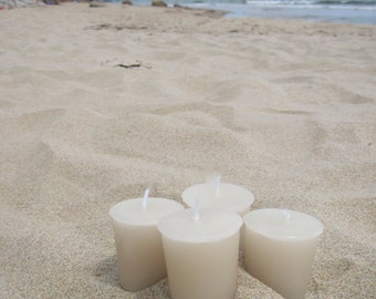 SUN AND SAND type (4 votives or 4-oz soy jar candle)