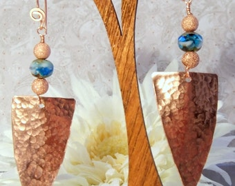 Hammered Copper Tribal Shield Dangle Earrings-OOAK Handmade