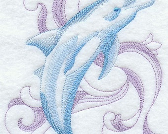 Baroque Dolphin Embroidered Terry Kitchen Towel Bathroom Hand Towel