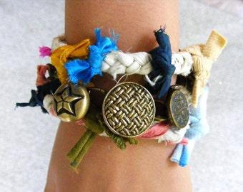 Wrap Bracelet, Boho Sari Silk Bracelet, Vintage Button Bracelet, Colorful Woven Bracelet, Upcycled Sari Silk, Braided Silk Bracelet
