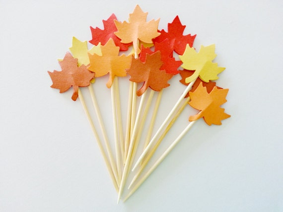 ... Romance MAPLE LEAF Party Picks / Cupcake Toppers / Cocktail Sticks
