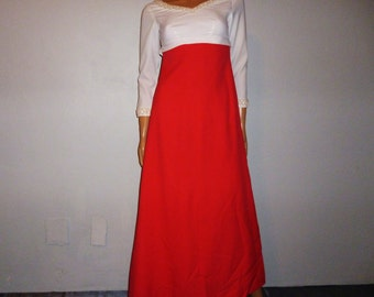"Vintage 60's - Red -  White - Embellished - Pearl - Beaded - Empire Waist - Flowing - Maxi - Gown - Dress - 34"" Bust"