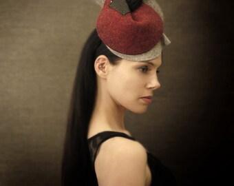 Burgundy and Grey Sculptural Felt Hat - Nido Hat - Made to Order