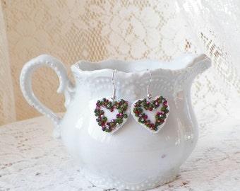 Felt Beaded Victorian Heart Earrings, White Hearts with Pink Glass Beads, Heart Shaped Handmade Earrings