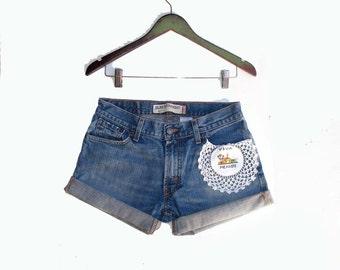 Vintage Levi's 514 Shorts Embellished Viva Mexico Pocket Zip Fly Faded Denim Jeans W 29 30 Cut Off Shorts