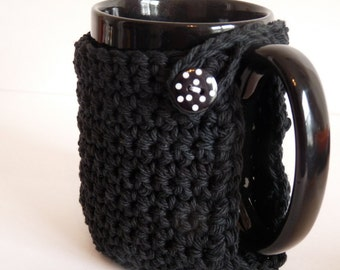 Crochet Mug Cozy in Black for Coffee Lovers and Tea Drinkers